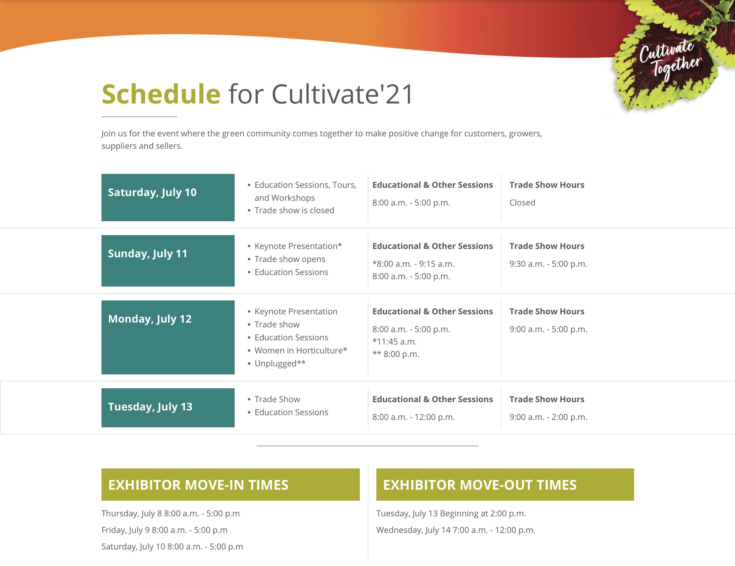 cultivate'21 schedule